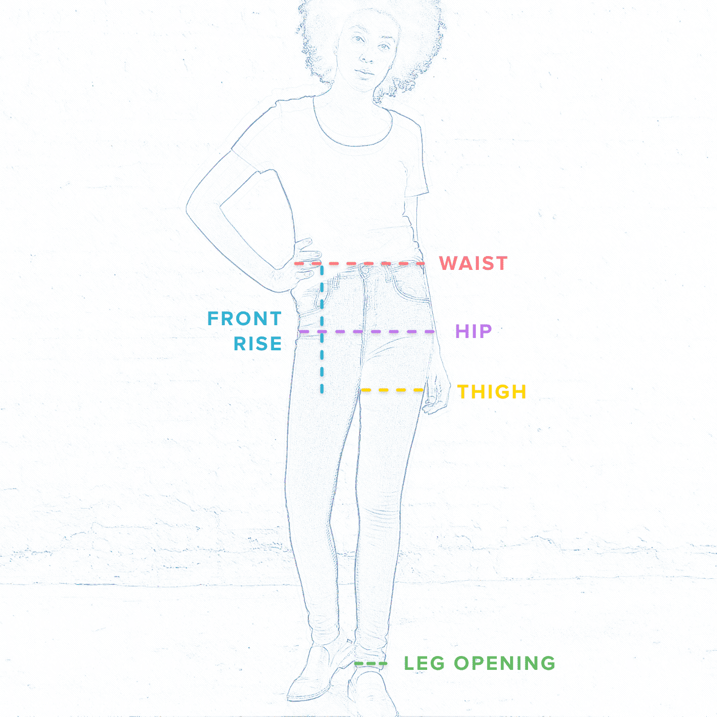 Size measurment reference for Mary Dark Wash