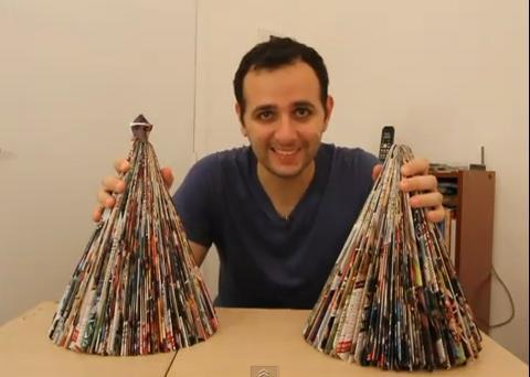 Aprenda a fazer uma árvore de Natal reciclada