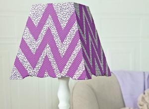 Abajur decorado com tecido adesivo