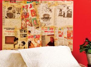 Painel com jornais antigos