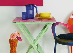 Mesa com pátina molhada