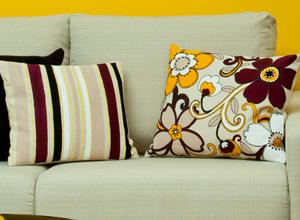 Almofada decorada com listras