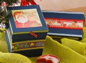 Caixa de Natal com adesivos