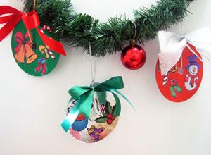 Enfeite de Natal com papel Con-tact