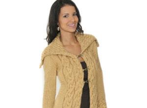 Casaco trançado de tricô