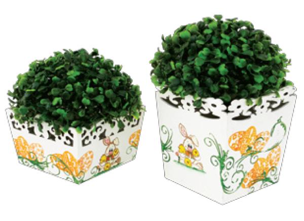 Vasos decorados com carimbo