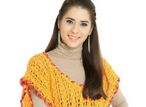 Blusa laranja de crochê com barra mesclada
