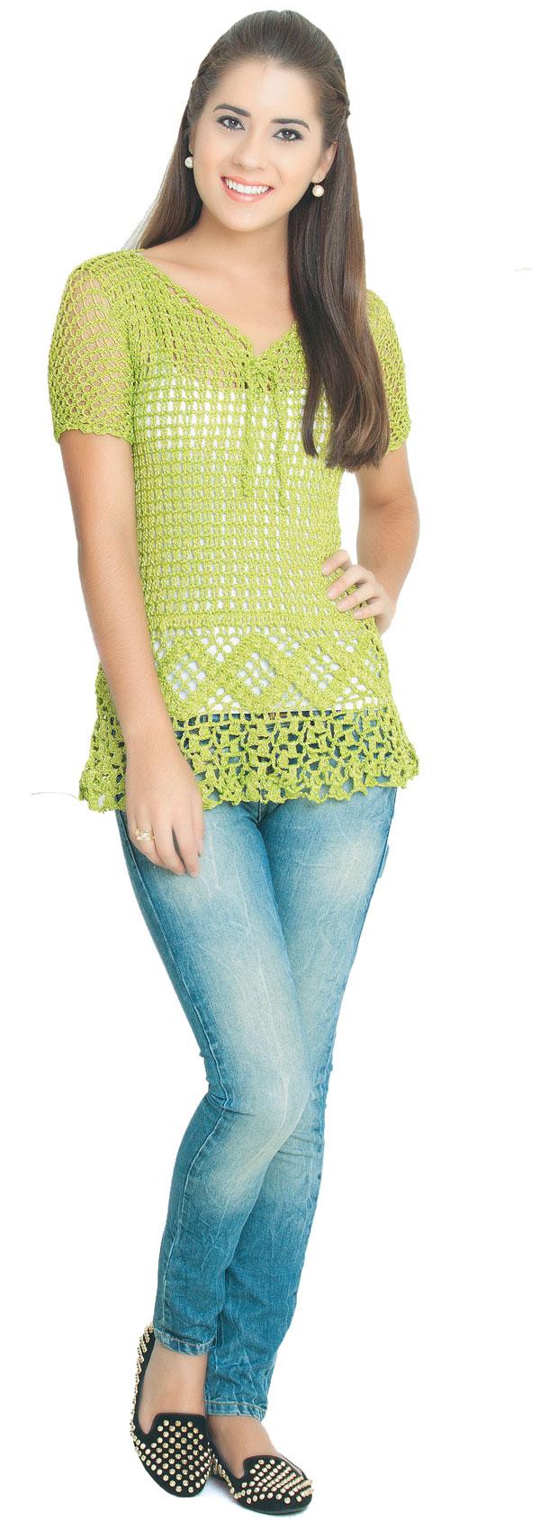 Camiseta verde-limão de crochê