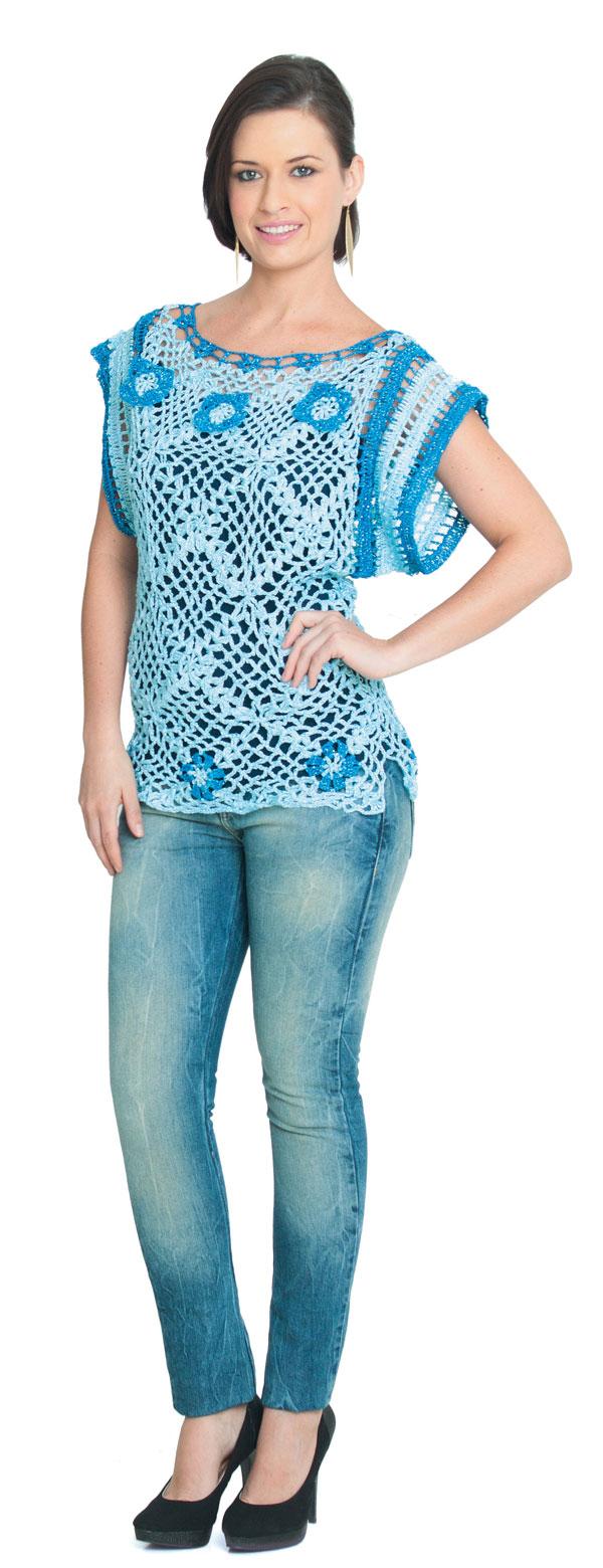 Camiseta de crochê Azul Bebê