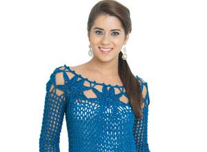 Blusa de crochê azul topázio