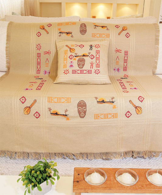 Manta de sofá com almofada inca