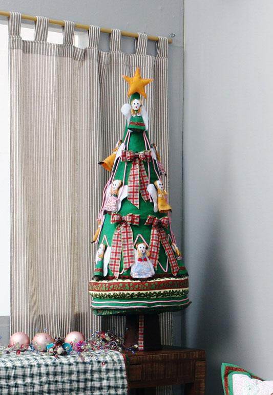 Anjos de feltro para árvore de Natal