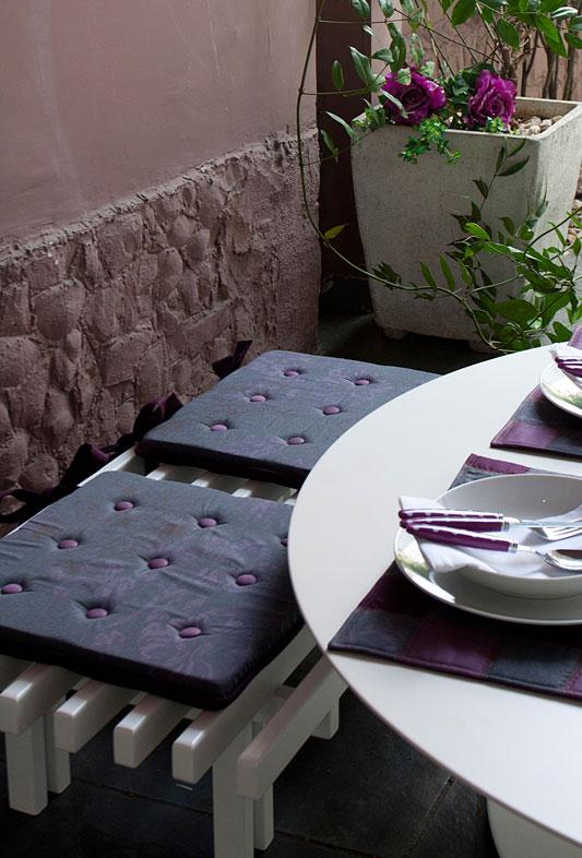 Assento de cadeira de patchwork