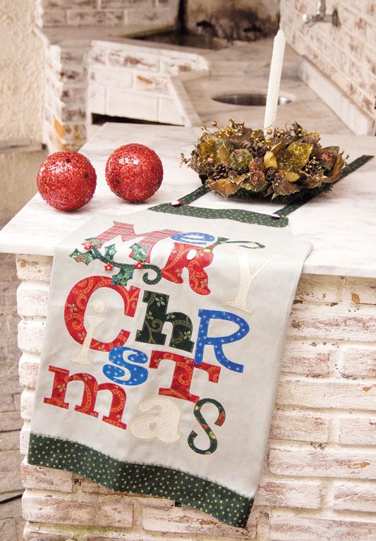 Avental natalino de patch apliquê