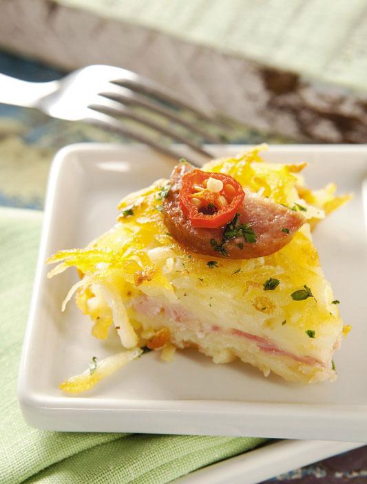 Batata suíça com calabresa e queijo