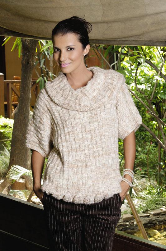 Blusa de tricô com barrado em folha