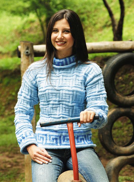 Blusa de tricô com temas geométricos para dias frios