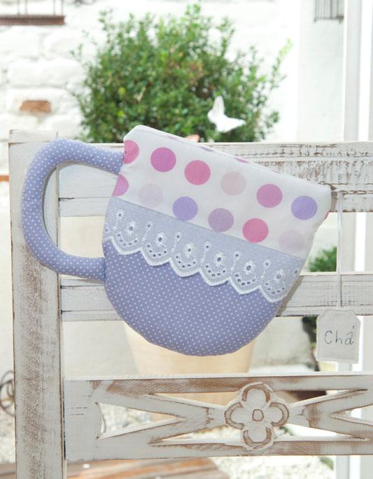 Bolsa de patchwork em forma de xícara