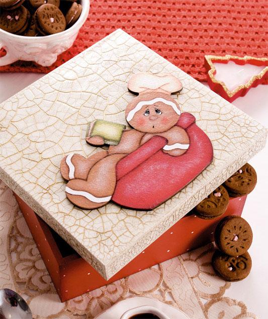 Caixa de biscoitos craquelada com motivo de ginger bread