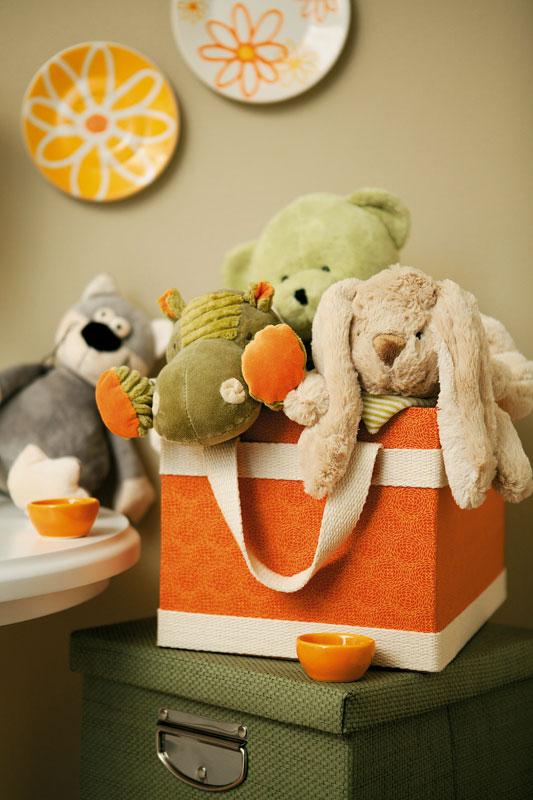 Caixa porta-brinquedos de patchwork