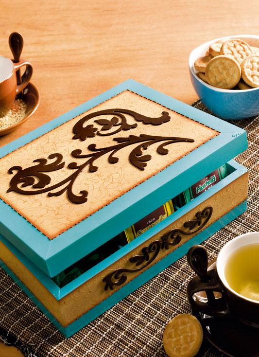 Caixa de chá com emboss
