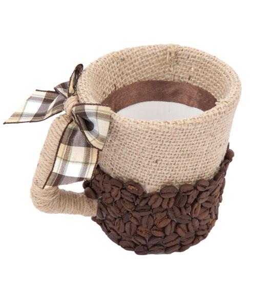 Caneca com aplicação de grãos de café
