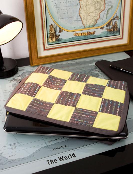porta-notebook de patchwork