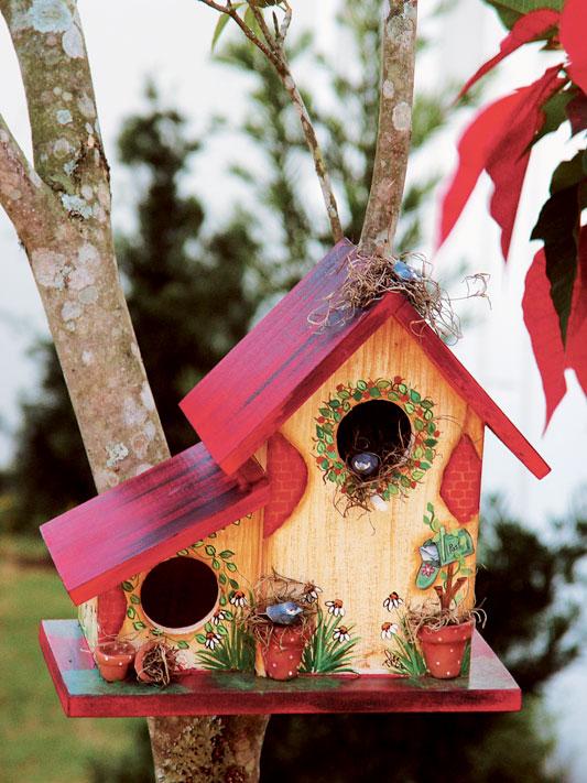 Casa de passarinho com découpage e pátina