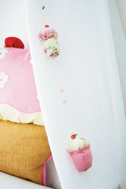 Cordão de cortina em patch décor com temas de cupcakes