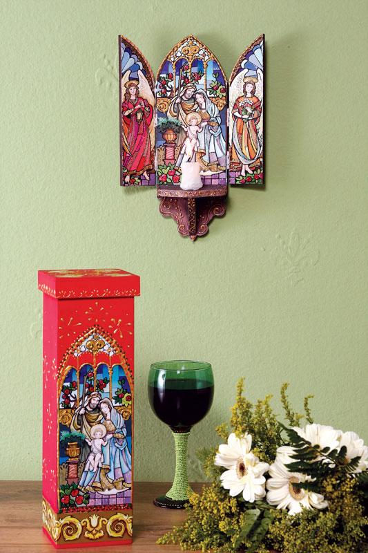 Oratório da Sagrada Família. Découpage é o artesanato