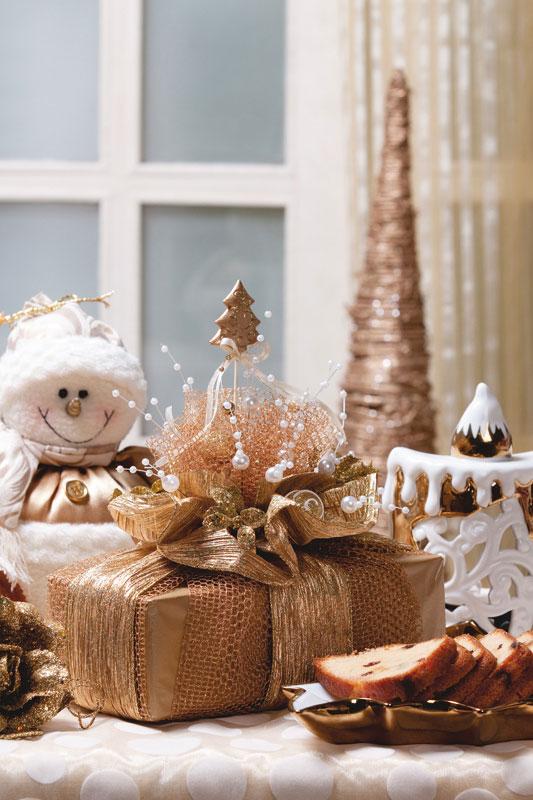 Embalagem natalina para o bolo de sobremesa da ceia