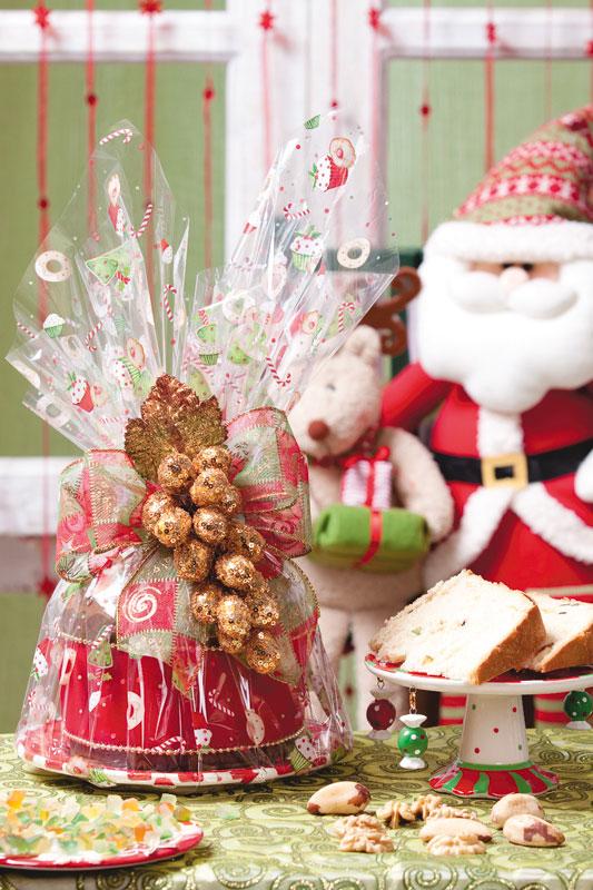 Embalagem especial para o panetone de Natal