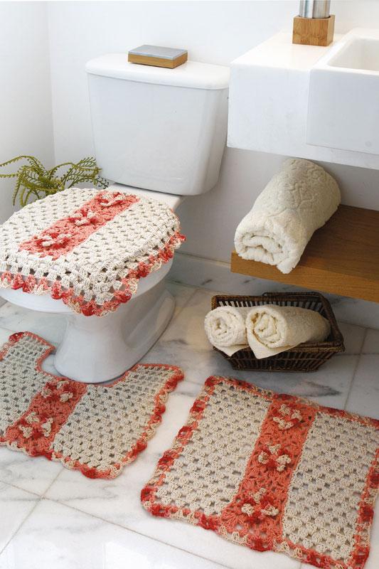 Kit para banheiro salmão de crochê