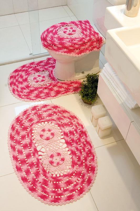 Kit para banheiro de crochê com tons de rosa