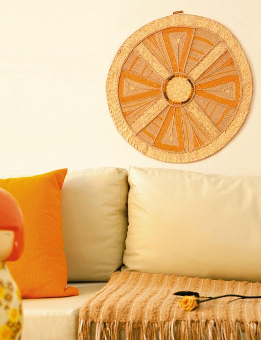 Grande mandala de parede com palha de carnaúba, rami e juta