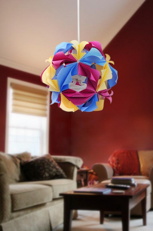 Luminária de origami – Kusudama Arabesque
