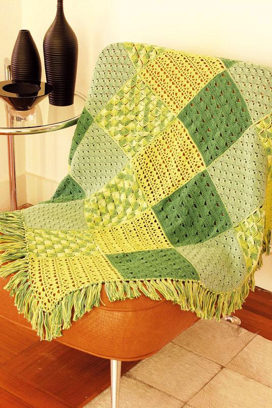 Manta de sofá em patchwork