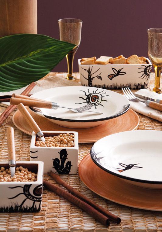 Prato de cerâmica com pintura nordestina