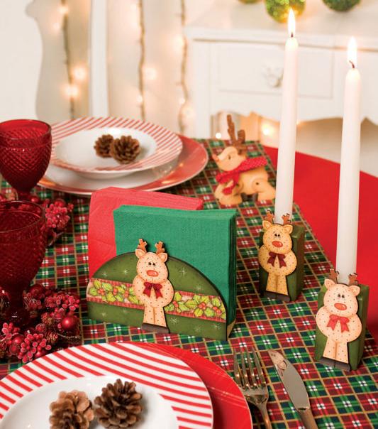 Porta-guardanapos natalinos com pintura country