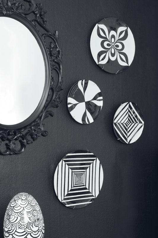 Pratos de cerâmica no estilo OpArt
