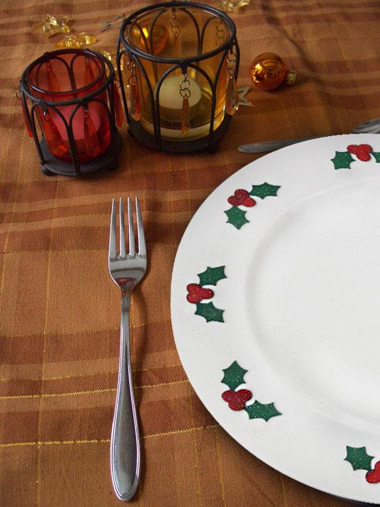 Pratos de Natal com adesivo