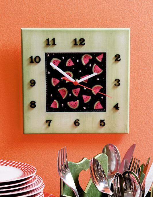 Relógio de melancia de pintura em MDF. Saboreie a decoração
