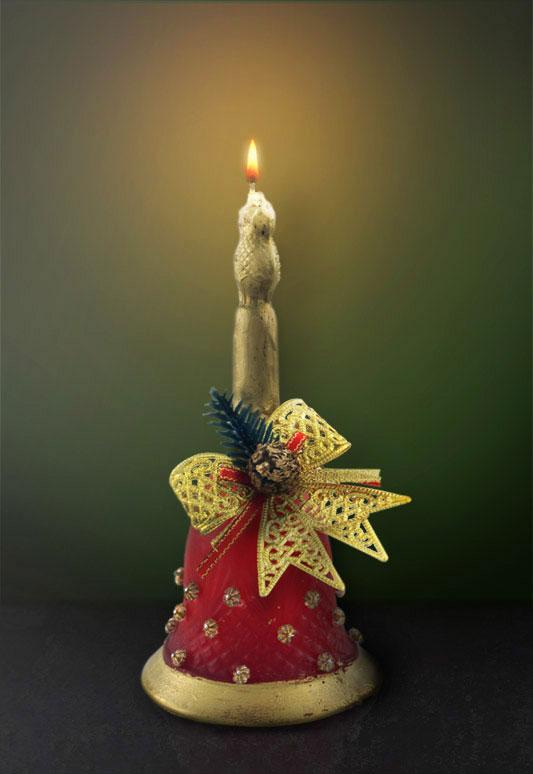 Vela de Natal em formato de sino