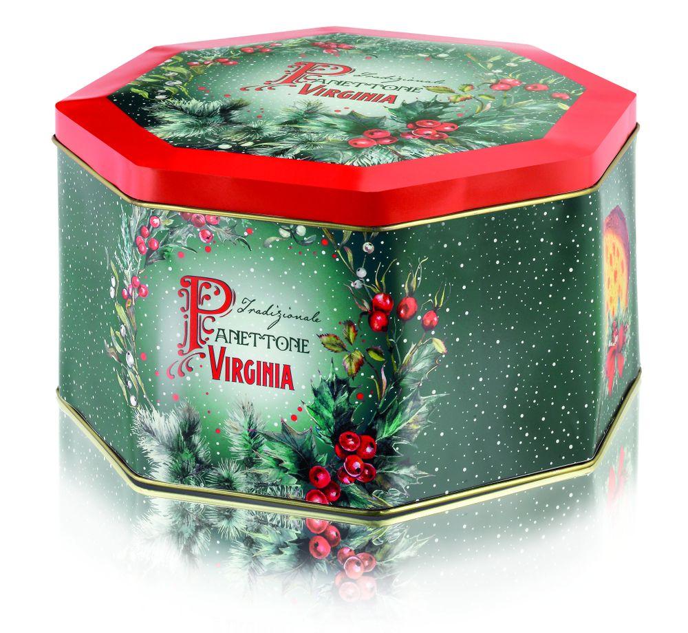 Traditional Panettone - Octogonal Holly Tin