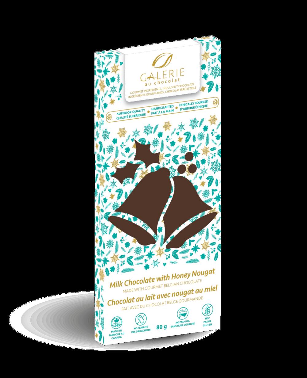 Holiday Milk Chocolate with Honey Nougat Bar