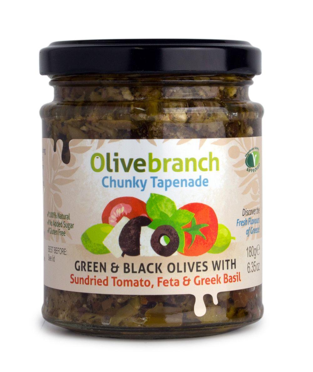 Green & Black Olive Tapenade  with Tomato, Feta, Basil