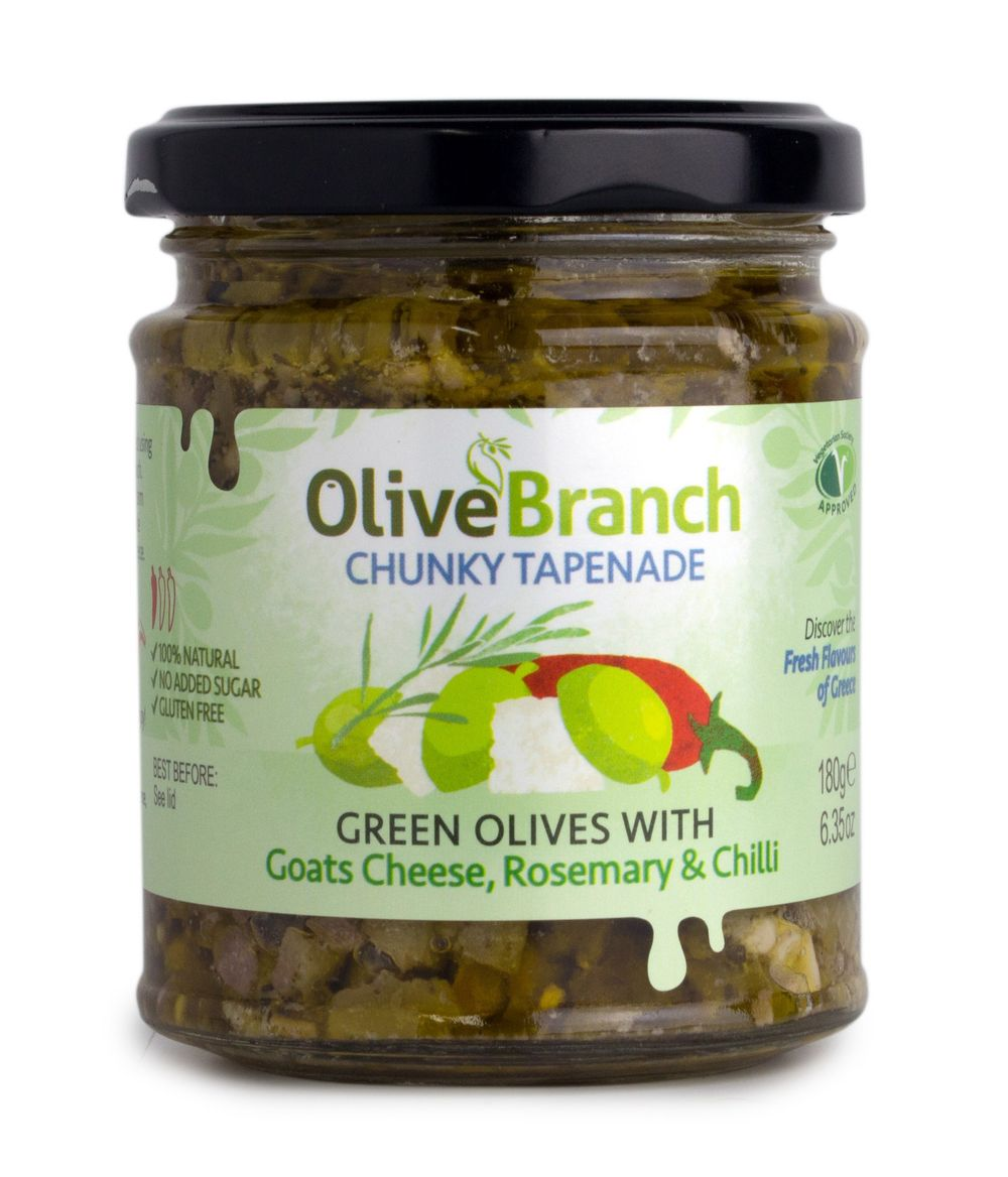 Green Olive Tapenade with Goats Cheese, Rosemary & Chilli