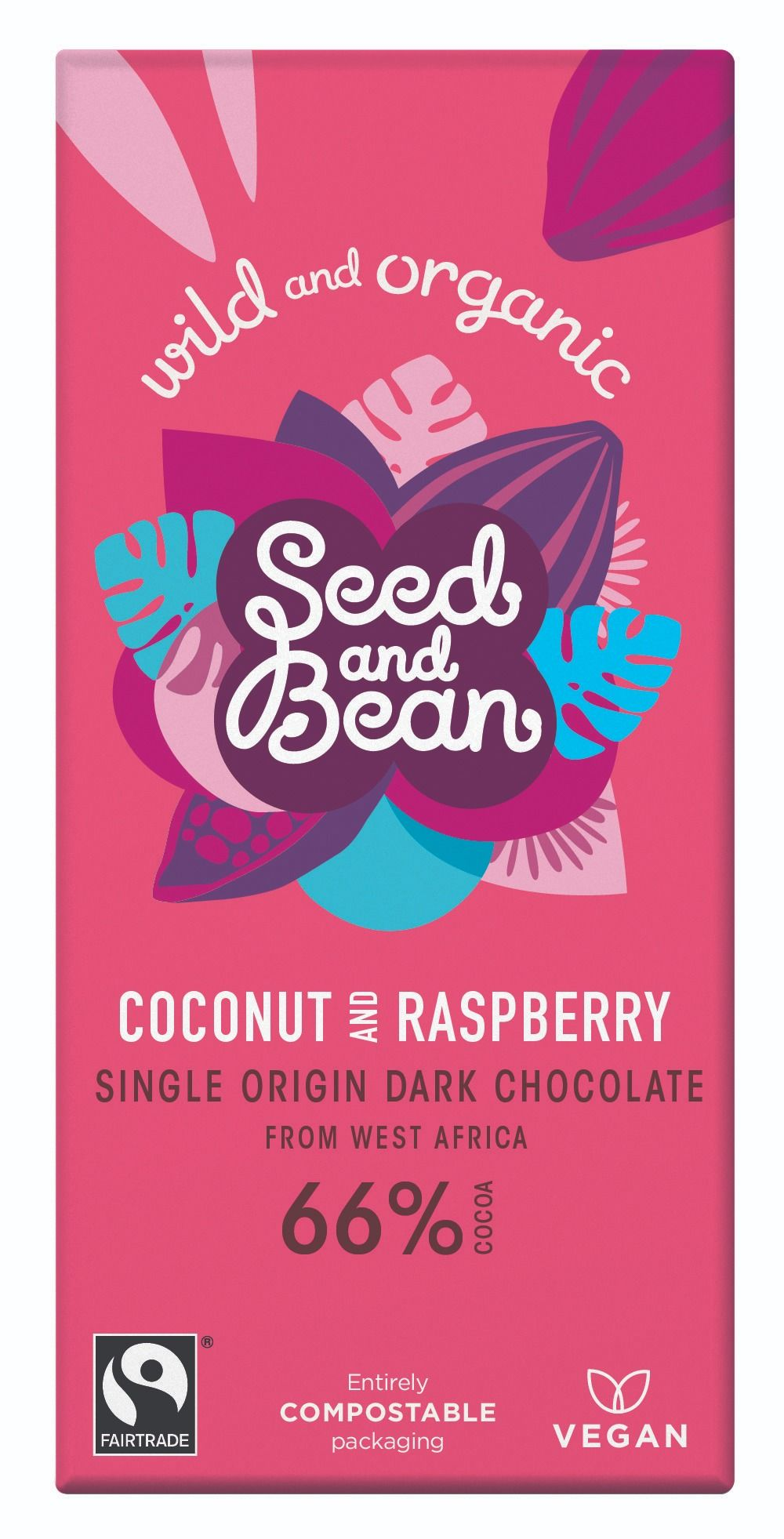 Coconut & Raspberry Extra Dark Chocolate 66% Bar