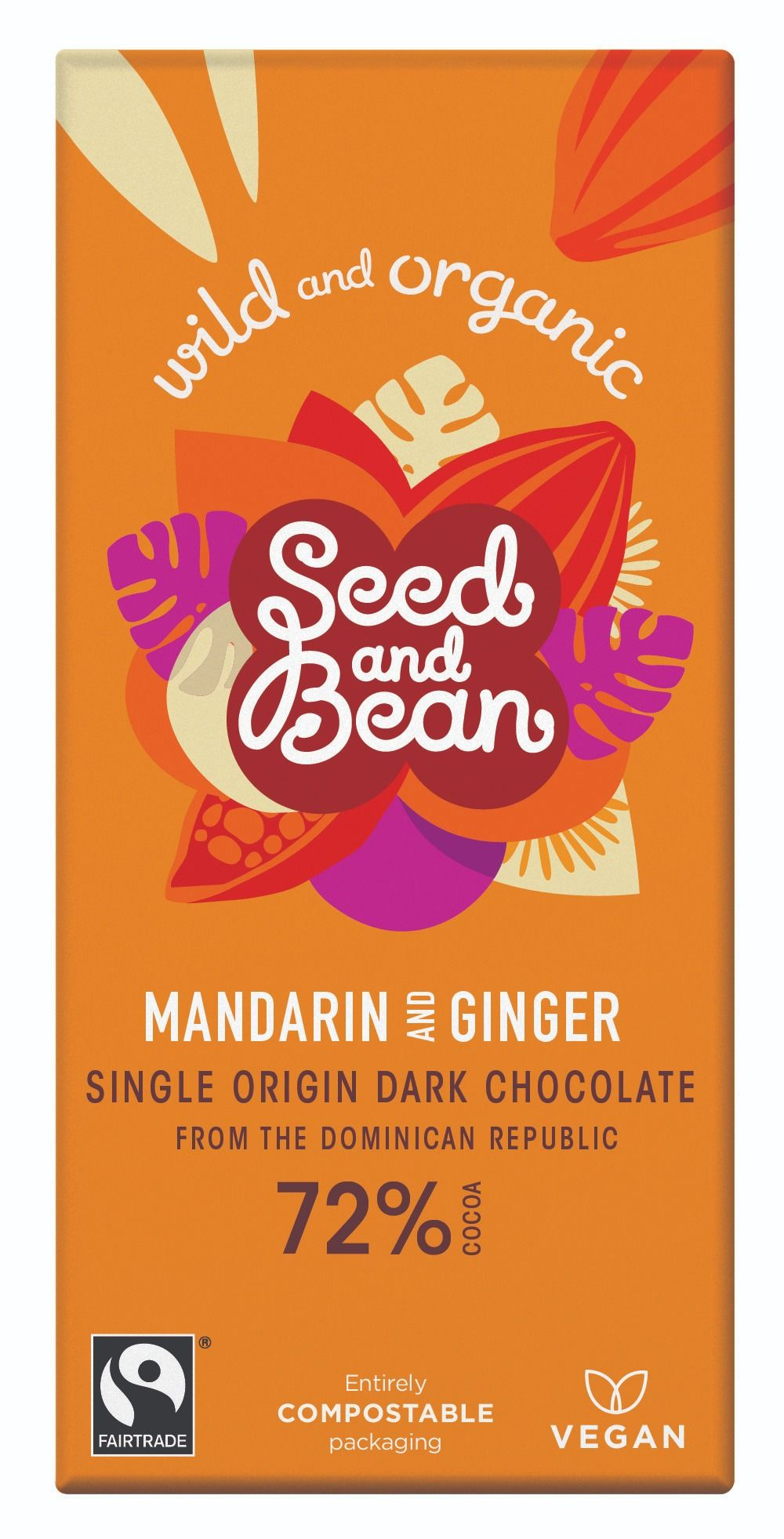 Mandarin & Ginger Dark Chocolate 72% Bar