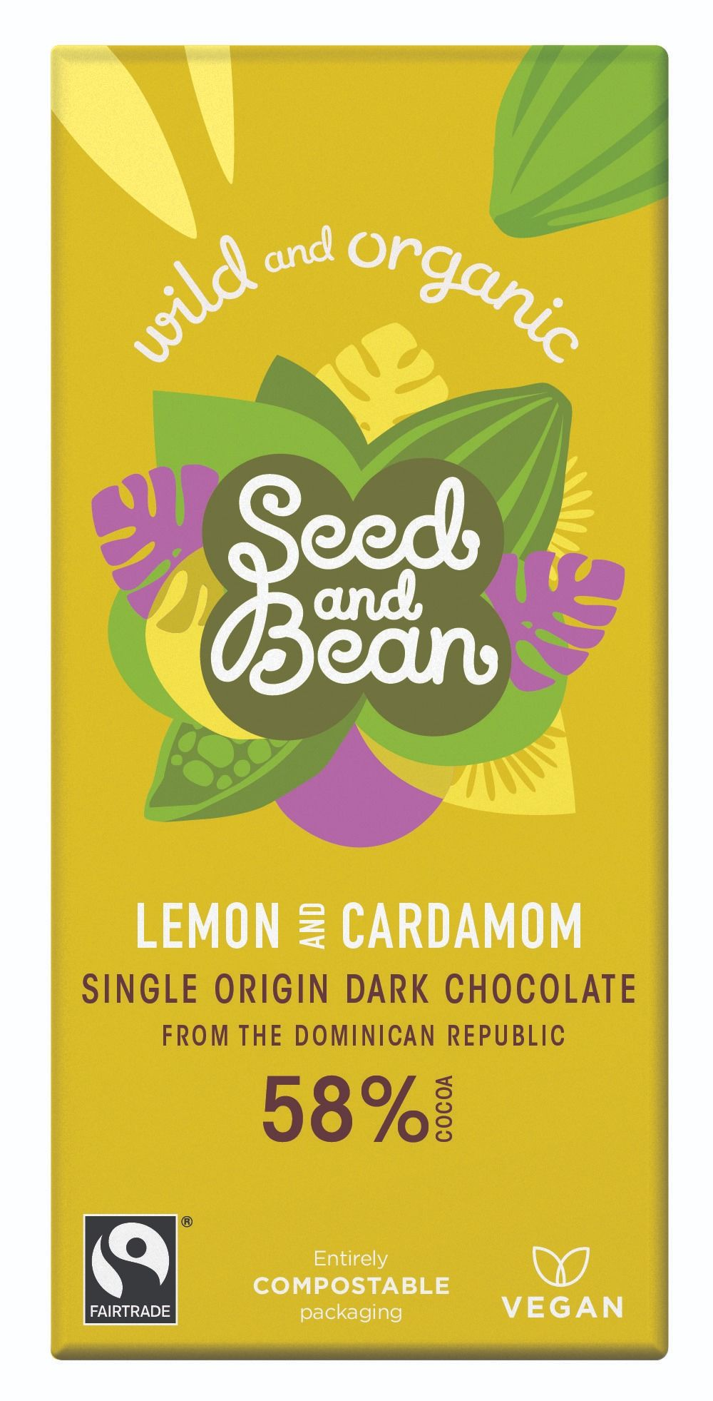Lemon & Cardamom Dark Chocolate 58% Bar